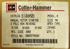 CUTLER HAMMER B100M0B Size MO Model A Manual Motor Starter 2 Pole 2602D70G02