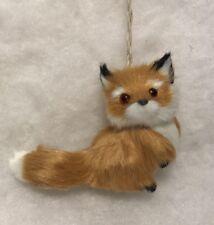 Red fox christmas tree ornament Faux Fur Woodland bushy tail
