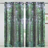 1 Paar Vorhang Grün Wald Top Tülle Fenster Vorhänge Blackout Zuhause Wohnzimmer