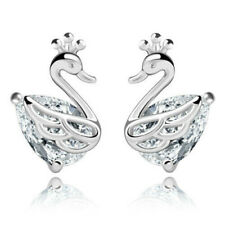 Peacock stud earrings silver plated, butterfly backing