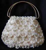 VINTAGE SEQUIN BEADED/FAUX PEARL CLUTCH PURSE HAND MADE IN HONG KONG