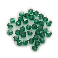 50pcs Peacock Green Crystal Glass Beads Bicone Cut&Faceted Jewelry Making 4-8mm