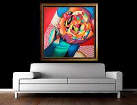 Yankel Ginzburg Original Painting Oil on Canvas Hand Signed Large Floral Artwork