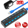 4/7 Port USB 3.0 Hub 5Gbps High Speed On/Off Switches AC Power Adapter For PC TD