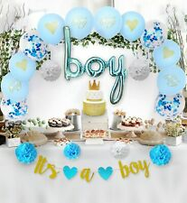 Baby Shower Blue Decorations Kit for Boy, Party Supplies,Party Decor Set.