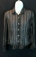 The Limited Silk Women's Black/Ivory Polka Dot Button Up Blouse Top Size Medium