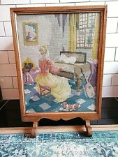 VINTAGE ART DECO WOODEN GLAZED FIRE SCREEN SPARK GUARD HAND CRAFTED TAPESTRY