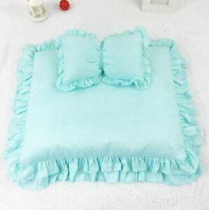 Handmade Pet Dog Cat Sofa Bed House Cushion Mat Indoor Mat +Pillow S,M Blue