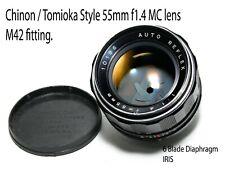 Auto Reflex Tomioka (Japan) 55mm F1.4 M42 screw fitting Standard Lens.