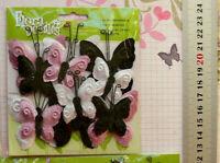 12 Velvet Butterflies PINK BLACK WHITE - Mixed 25x32mm & 42x45mm FloraDoodlePetF
