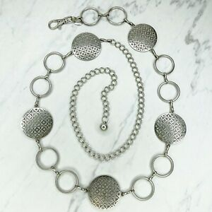 Silver Tone Heart Star Medallion Concho Belly Body Chain Link Belt One Size OS