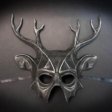 Deer Animal Masquerade Mask, Men's Masquerade Mask, Silver Black Ball Mask