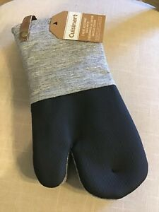 CUISINART  OVEN MITTS  GRAY SPACE DYE LINEN BLACK  (2)   NWT