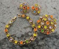 Vintage Sarah Coventry Moon Lites Parure Brooch Pin Bracelet Earrings 1970