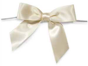 """12 Ivory 3"""" Pre-tied Satin Bows 5"""" Twist Ties 7/8"""" Ribbon All Occasion Gifts"""