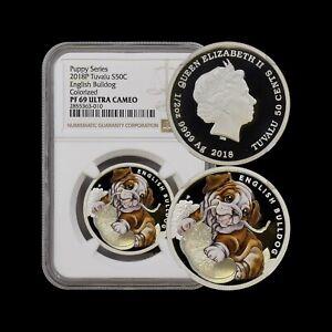 2018 Tuvalu 50 Cents (Silver) - NGC PF69 UC - TOP POP 🥇 English Bulldog