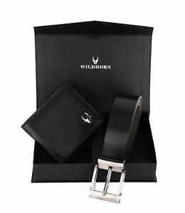 Combo Set New Men's Black Colour Leather Bi-fold Wallet and Black Belt Gift Item