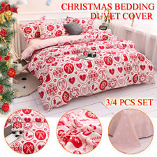 3/4 Pcs Christmas  Kit Bedding Set Duvet Cover Set Pillowcase Single Double