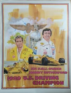 VINTAGE RACING POSTER ~ Johnny Rutherford 1980 Indy US Indy Champion Pennzoil #1