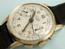 HEUER CHRONOGRAPH 14K SOLID GOLD - FINE VALJOUX 23 - VERY BEAUTIFUL WORKED LUGS