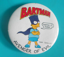 THE SIMPSONS BARTMAN AVENGER OF EVIL 1989 PINBACK BUTTON 1.75""