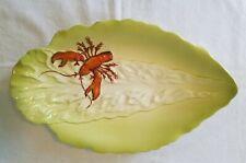 Vintage Carlton Ware Chartreuse Porcelain Leaf Shaped Lobster Plate
