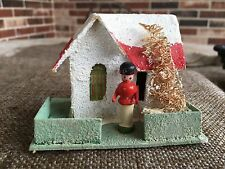 Vintage Putz Mica Glitter Cardboard House,Wooden Toy Soldier Outdoor Decoration