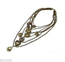 Bellissima Collana Vintage Multifilo Con Ciondoli Cuori - 6 Fili - Colore Bronzo