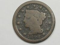 1848 US Braided Hair Large Cent Coin.  #8