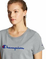 Champion Script Logo Women's T-Shirt Tee Classic Fit Tag Free Short Sleeve NWT