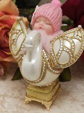 Baby shower Girl Baptism Chirstening Newborn Faberge egg Music Trinket 24k Gold