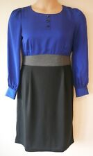 Womens Mock Two piece Dress Size 14 New Ladies Together Blue Grey Black Shn NWT