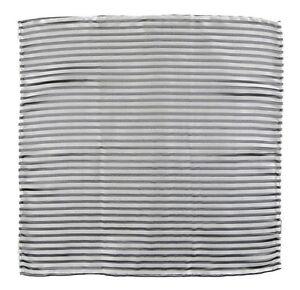 Men's ITALO FERRETTI Gray Silver Striped 100% Silk Handkerchief Pocket Square