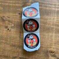 (3) Walt Disney World Mickey Mouse Round Stickers- Black with Red Background-NEW