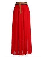 Women Lady Chiffon Pleated Retro Long Maxi Dress Elastic Waist Skirt   25 Colors