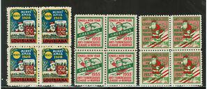 United States Cinderella: Christmas Seals: 1928, 1935, 1937 3 x block of 4 #3088