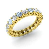 2.64 Ct Natural Aquamarine Engagement Eternity Band 14K Yellow Gold Diamond Ring