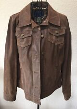 Carson Kressley Distressed Leather Jacket Brown Small A86005