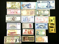 Uncirculated Lot of 18 PAPER MONEY BANKNOTES WORLD CURRENCY & Gold Pltd Souvenir