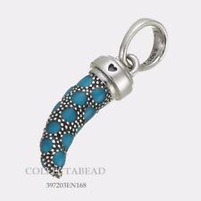 Authentic Pandora Silver Turquoise Enamel Italian Horn Pendant 397203EN168 NEW!
