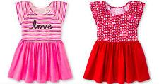 NEW NWT Girls Flutter Sleeve A Line Dress Red Hot Sunglow Pink striped Circo