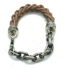 King Baby Studio Silver And Leather Lanyard Bracelet Link Brown 7.5in Length