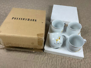 Pottery Barn Reindeer Big Coffee Mugs Rudolph Xmas Christmas Retired Set 4 Box