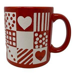 Vintage Waechtersbach Red Coffee Mug Geometric Patterns W. Germany