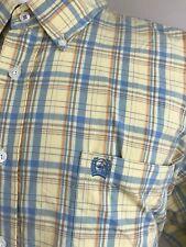 Cinch Men's Shirt XL Extra Large Plaid Yellow Blue Orange Western Cowboy Shirt