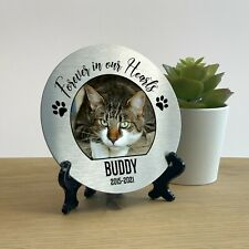 More details for personalised metal pet memorial round plaque cat dog photo steel grave marker