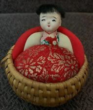 Vintage Sewing Pin Cushion Asian, Oriental, Japanese Doll Euc