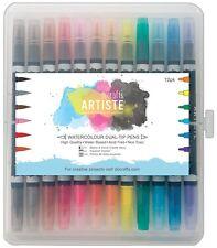 12 x Artiste Dual Pens Adult Colouring Felt Fiber Tip Fine Detail Brush Art