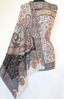 Genuine Hand-Cut Kani Wool Shawl Pashmina Design India Jamavar Paisley Ivory