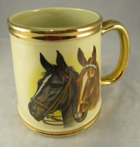 Vintage Retro Gibson's Staffordshire Tankard/Mug Horse Scene Gold Gilding